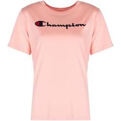 tekstylia Damskie T-shirty z krótkim rękawem Champion  Różowy