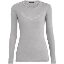 tekstylia Damskie T-shirty z długim rękawem Salewa Solidlogo Dry W L/S Tee 27341-0624 szary