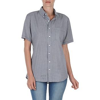 tekstylia Damskie Koszule z krótkim rękawem American Apparel RSACP401S Biały / Niebieski