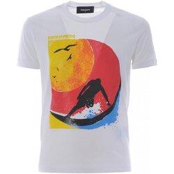 tekstylia Męskie T-shirty z krótkim rękawem Dsquared S71GD0649 Biały