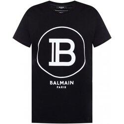 tekstylia Męskie T-shirty z krótkim rękawem Balmain TH11601 I201 Czarny