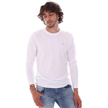 tekstylia Męskie T-shirty z długim rękawem Key Up 2E96B 0001 Biały