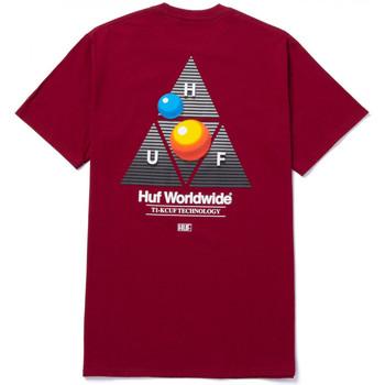 tekstylia Męskie T-shirty z krótkim rękawem Huf T-shirt video format tt ss Czerwony