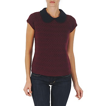 tekstylia Damskie Swetry Manoush TOP CROCHET CŒUR Bordeaux