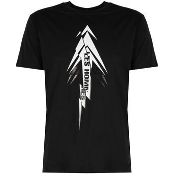 tekstylia Męskie T-shirty z krótkim rękawem Les Hommes  Czarny