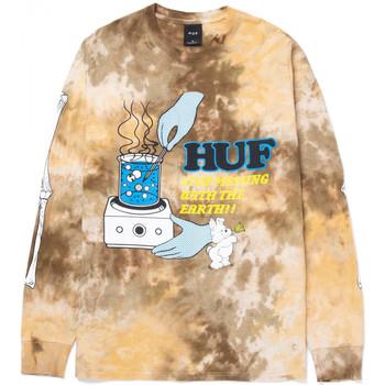 tekstylia Męskie T-shirty z długim rękawem Huf T-shirt mess tiedye ls Brązowy