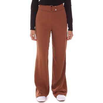 tekstylia Damskie Spodnie z lejącej tkaniny / Alladynki Gaudi 121FD25014 Brązowy