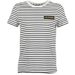 tekstylia Damskie T-shirty z krótkim rękawem Tommy Hilfiger EMBROIDERED BADGE Biały / Marine