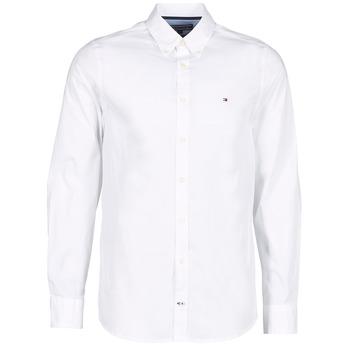 tekstylia Męskie Koszule z długim rękawem Tommy Hilfiger STRETCH POPLIN Biały