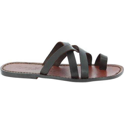 Gianluca - L'artigiano Del Cuoio 549 U Moro Brązowy Buty Sandały Meskie 37459 Najniższa Cena