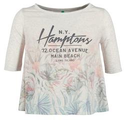 tekstylia Damskie T-shirty z krótkim rękawem Benetton ESQUIQUO Biały / Wielokolorowe