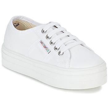 Buty Dziewczynka Trampki niskie Victoria BASKET LONA PLATAFORMA KIDS Biały