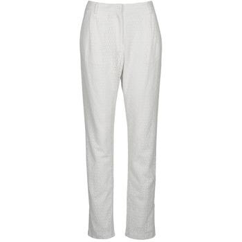 tekstylia Damskie Spodnie z pięcioma kieszeniami Manoush FLOWER BADGE Biały