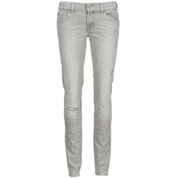 tekstylia Damskie Jeansy slim fit 7 for all Mankind ROXANNE DESTROYED Szary