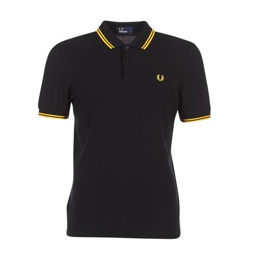 tekstylia Męskie Koszulki polo z krótkim rękawem Fred Perry SLIM FIT TWIN TIPPED Czarny / Żółty