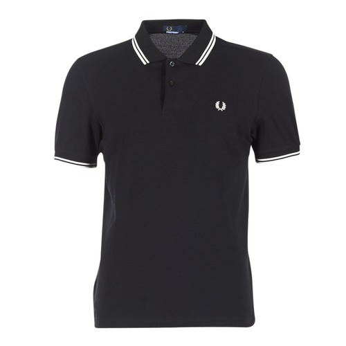 tekstylia Męskie Koszulki polo z krótkim rękawem Fred Perry SLIM FIT TWIN TIPPED Czarny / Biały