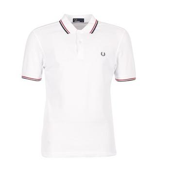 tekstylia Męskie Koszulki polo z krótkim rękawem Fred Perry SLIM FIT TWIN TIPPED Biały / Czerwony
