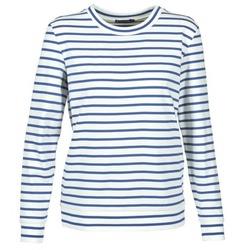 tekstylia Damskie Bluzy Petit Bateau BEAM Biały / MARINE