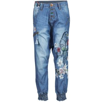 tekstylia Damskie Spodnie z lejącej tkaniny / Alladynki Desigual ANIATINE Niebieski / MEDIUM