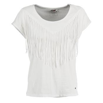 tekstylia Damskie T-shirty z krótkim rękawem Mustang FRINGE Biały