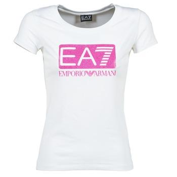 tekstylia Damskie T-shirty z krótkim rękawem Emporio Armani EA7 BEAKON Biały
