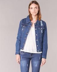 tekstylia Damskie Kurtki jeansowe Yurban ESPINALE Niebieski / Fonce