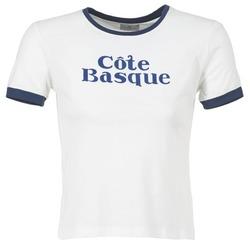tekstylia Damskie T-shirty z krótkim rękawem Loreak Mendian COTE BASQUE Ecru / Marine