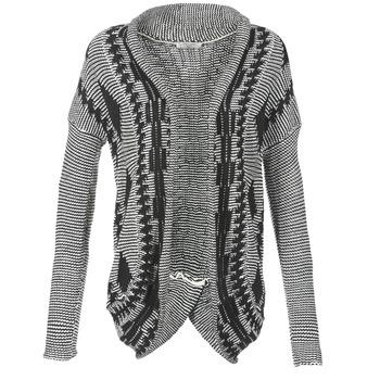 tekstylia Damskie Swetry rozpinane / Kardigany Teddy Smith GRANBY Ecru / Czarny