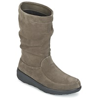 Buty Damskie Buty za kostkę FitFlop LOAF SLOUCHY KNEE BOOT SUEDE Taupe
