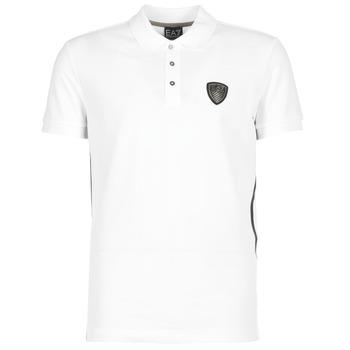 tekstylia Męskie Koszulki polo z krótkim rękawem Emporio Armani EA7 ONTRAFOL Biały