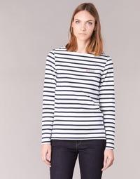 tekstylia Damskie T-shirty z długim rękawem Betty London IFLIGEME Biały / Niebieski
