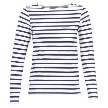 tekstylia Damskie T-shirty z długim rękawem Betty London FLIGEME Biały / Niebieski