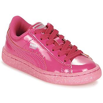 Buty Dziewczynka Trampki niskie Puma BASKET PATENT ICED GLITTER PS Różowy