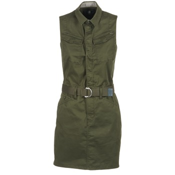 tekstylia Damskie Sukienki krótkie G-Star Raw ROVIC SLIM DRESS S/LESS Kaki