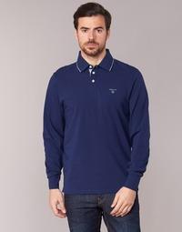 tekstylia Męskie Koszulki polo z długim rękawem Gant 3-COL CONTAST RUGGER MARINE