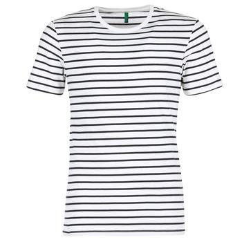 tekstylia Męskie T-shirty z krótkim rękawem Benetton MAKOUL Niebieski / Biały