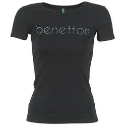 tekstylia Damskie T-shirty z krótkim rękawem Benetton AJAVOL Czarny