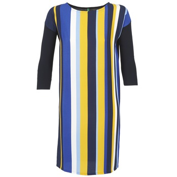 tekstylia Damskie Sukienki krótkie Benetton VAGODA Niebieski / żółty / Biały