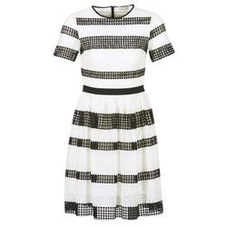 tekstylia Damskie Sukienki krótkie MICHAEL Michael Kors GRAPHIC CR STRIPE DRS Czarny / Biały