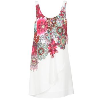 tekstylia Damskie Sukienki krótkie Desigual LIORASA Biały / Czerwony / Różowy