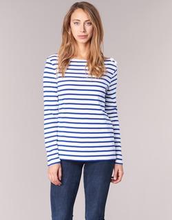 tekstylia Damskie T-shirty z długim rękawem Petit Bateau FIX Biały / Niebieski