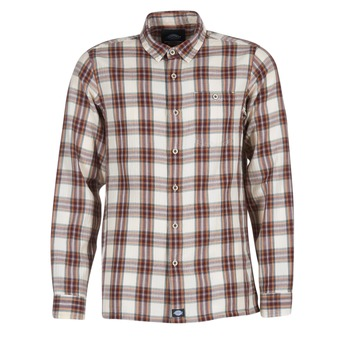 tekstylia Męskie Koszule z długim rękawem Dickies HARRELL Biały / Brązowy