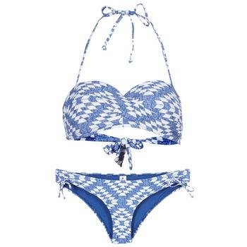 tekstylia Damskie kostium kąpielowy dwuczęściowy Rip Curl DEL SOL BANDEAU SET Niebieski / Biały