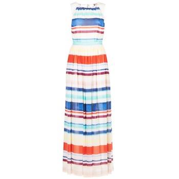 tekstylia Damskie Sukienki długie Tommy Hilfiger AGATON Biały / Niebieski / Pomarańczowy