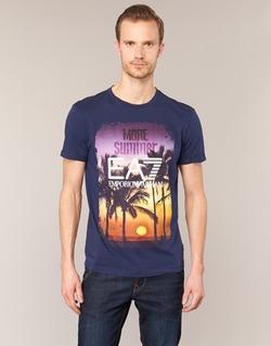 tekstylia Męskie T-shirty z krótkim rękawem Emporio Armani EA7 TRAIN GRAPHIC Niebieski