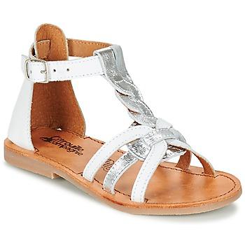 Buty Dziewczynka Sandały Citrouille et Compagnie GITANOLO Biały / Srebrny
