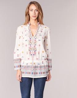 tekstylia Damskie Tuniki Derhy DETENTE Biały / Różowy