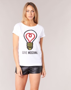 tekstylia Damskie T-shirty z krótkim rękawem Love Moschino W4F3038E1512 Biały