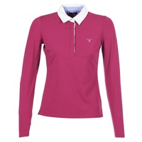 tekstylia Damskie Koszulki polo z długim rękawem Gant SOLID JERSEY LS RUGGER Różowy