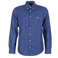 tekstylia Męskie Koszule z długim rękawem Gant THE INDIGO SHIRT Niebieski
